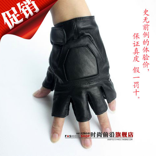 Ride gloves sheepskin semi-finger gloves fitness gloves genuine leather male(China (Mainland))