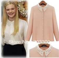 Lace lace nail bead chiffon shirt shirt female chun xia to Europe and the United States women long sleeve top spring 2013