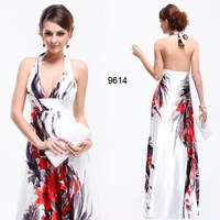 Free Shipping ! The new Europe and the United States Print Long Halter Slim evening dress