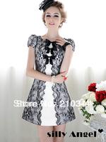 Free shipping Wholesale Summer 2014 Designer Elegant Ruffle Petal Edge White Black Lace Bubble Sleeve Bow Women's Princess Dress