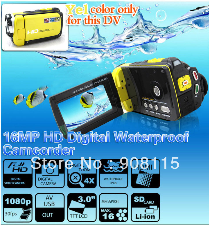 Yellow New Waterproof DV Camera Underwater HD 1080P 16.0MP Digital Video Camcorder Sport DV US free shipping DB0193(China (Mainland))