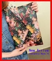 Free shipping 2014 new oil painting flower women's rivet handbag rose day clutch envelope bag messenger bag