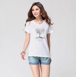 FREE SHIPPING Plus size clothing mm2013 spring new arrival women's short-sleeve slim t-shirt 100% cotton o-neck top Wholesale(China (Mainland))