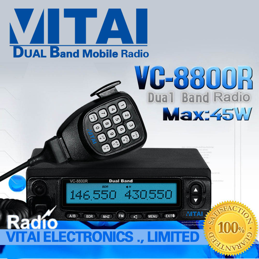 Free Shipping Dual Band Mobile Radio VITAI VC-8800R VHF&amp;UHF Car Radio Station with 45W High Power Two Way Radio(China (Mainland))