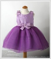 Summer baby clothing girl's dress Beautiful dress chiffon purple 4pieces/lot Free shipping