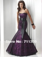 Hot Mermaid Prom dress purple strapless lace/satin Evenin Dress Party dress FL001