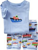 2013 Бесплатная доставка, корабль, Оптовая Детские / Дети 100% хлопок ребра короткий рукав пижамы / пижамы 6 комплектов / серия (6 размеров)