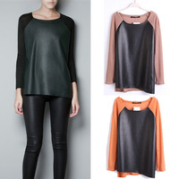 Women's CHIC PU Asymmetrical CREW NECK LONG SLEEVE Pullover Sweater TOP Shirt # L034898