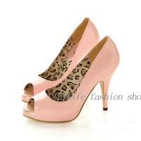 Women Leather Shoes /Lady Shoes 2013 Free Shipping spring 3 colors Open toe graceful fashion wedding Ultra high heels pumps wo