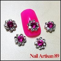 20psc/lot 8mm 3D Flower Nail Art Clear Crystal Rhinestone Purple Jewelry Nail DIY Acrylic Nail Art Tip Free Shjpping #B137