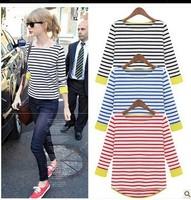 M--XL!! 2013 Stars favourite T-shirt,Women Ladies New Fashion(Swallow-Tailed Stripe)Tshirt/Original cuffs women summer tshirt