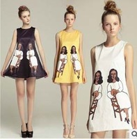 New Arrival Fashion European Celebrity Style Dresses 2013  Printed Loose Sleeveless Designer Dresses (black,white,yellow)