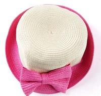 F05271 Woman Summer Big Bowknot Short Brim Dome Straw Braid Sun Hat Cap Sunbonnet Bucket hat + Free Shipping