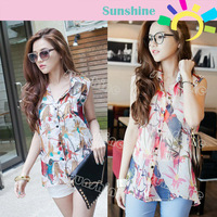 Women's Watercolor Birds & Flowers Sleeveless Splashed Ink Shirt Chiffon Blouse 14236