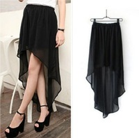 Free shipping Summer women's 2013 elegant low-high chiffon skirt bust skirt full basic skirt puff skirt female