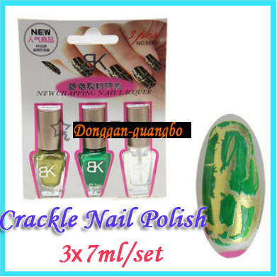 [HOT]20 Colors,3*7ML/Set Nail Art Crackle Polish/Fashion Crack Nail Polish Free Shipping(China (Mainland))