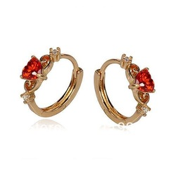 18K Gold Plated GP Fashion with red rhinestone Earrings #2193873(China (Mainland))