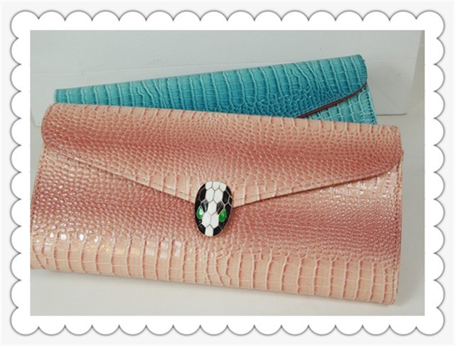 Hot Sale Alligator Pattern Wallet For Lady, PU Leather Snakehead Hasp Handbag Free Shipping(China (Mainland))
