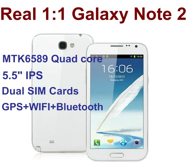 Newest!!! Real 1:1 Galaxy Note 2 5.5&quot; IPS Screen MTK6589 Quad Core Phone 1GB RAM 4G ROM Android 4.1 Dual SIM Cards Free gifts!!!(China (Mainland))