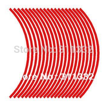 Free Shipping Red 16 Strips of Reflective Car Motorcycle Bike Rim Stripe Wheel Decal Tape Dropshipping(China (Mainland))
