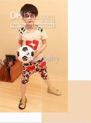 Boys Red Casual Football Player 2pcs Sets Short Sleeve Shirt+Haren Pants Children Clothing 7630 EMS(China (Mainland))