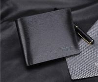 2013 Free shipping/Brand Genuine Leather Wallet for men+designer black Real Leather bifold purse + credit card holder H057-1