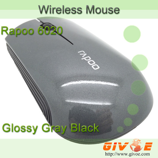 Glossy Gray Black Rapoo 6020 2.4GHZ High Precsion Blu-ray Bluetooth Wireless Mouse Mice + Nano Receiver Free Shipping(China (Mainland))
