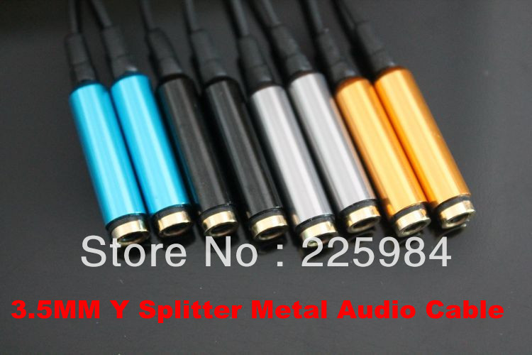 2013 New 3.5 mm Male to 2 Female Y Splitter Headset Earphone Headphone Audio Cable 10pcs/lot(China (Mainland))