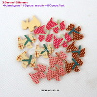 Dog wooden Mixed buttons(4colors,15pcs each,60pcs/lot) for cartoon clip,jewelry decoration -ZH39