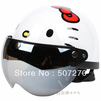 "B.17 Taiwan "" EVO "" New ABS Cycling Open Face Motorcycle Gloss White "" Hello Kitty "" Helmet & UV "" W "" Lens & Visor For Summer"
