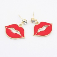 0403 Min order is $8 ( mix order ) Fashion Jewelry Vintage Exaggerated Big Red Lip Drop Earrings For Women