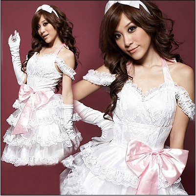 White bride dress lolita pink bow princess dress costumes for the photo shoot clothing cake skirt(China (Mainland))