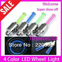 HOT!  Wholesale LED Flash Tyre Wheel Valve Cap Light , Car LED DRL Wheel Light Daytime Running Light-4 color optional