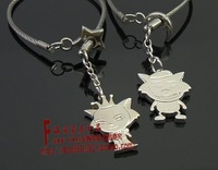 Gift sand red wolf a pair of lovers steel wire keychain logo