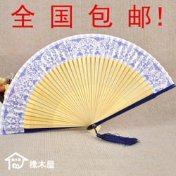 Classical chinese style blue and white porcelain fan short folding fan paint paillette(China (Mainland))