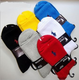 Free Shipping men`s polo socks mix colors cotton socks 12pair/lot tube socks(China (Mainland))