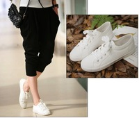 20 pair /lot  factory price womens ladies girls solid color white canvas shoes size35-39 freeshipping via EMS