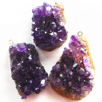 Free shipping (3 pieces/lot) Natural Amethyst Freeform Pendant Bead