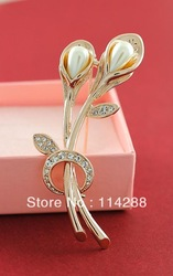 Beautiful ITALINA Crystal Simulated Pearl Calla Lily Wedding Brooch Corsage 1PC Min order(min order $10)(China (Mainland))