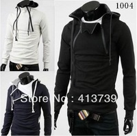 2013 A man Fake two piece Color matching Long sleeve Even the cap fleece Men's clothing leisure coat Brushed cotton WO5*401