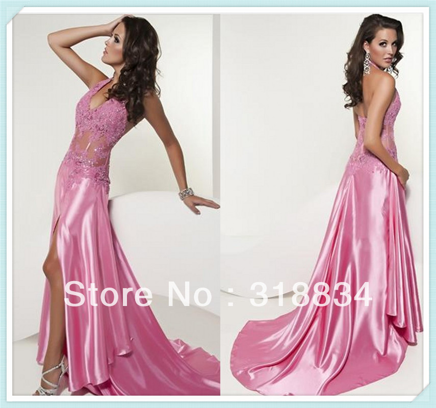 Wholesale 2013 High Quality Reasonable Price Halter Appliques Pleated Sequined Sexy Party Dresses Pink Prom Dress Evening GownsF(China (Mainland))
