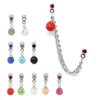 Sugical stainless Barbell Earring ferido ball Dangle Chain Ear Cuff Stud Piercing Jewelry