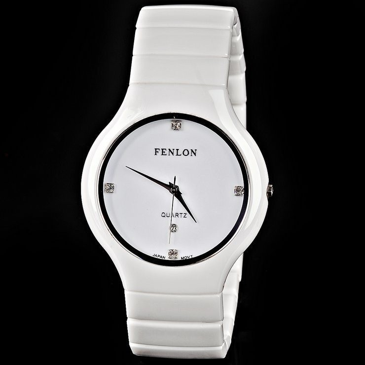 Brief ceramics white collar male watches business casual waterproof fashion Men quartz(China (Mainland))
