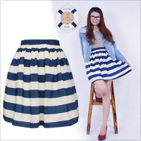 Summer fashion normic stripe print bust skirt slim waist slim bust skirt short skirt blue
