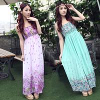 Bohemia chiffon one-piece dress 2013 plus size clothing summer full dress beach dress