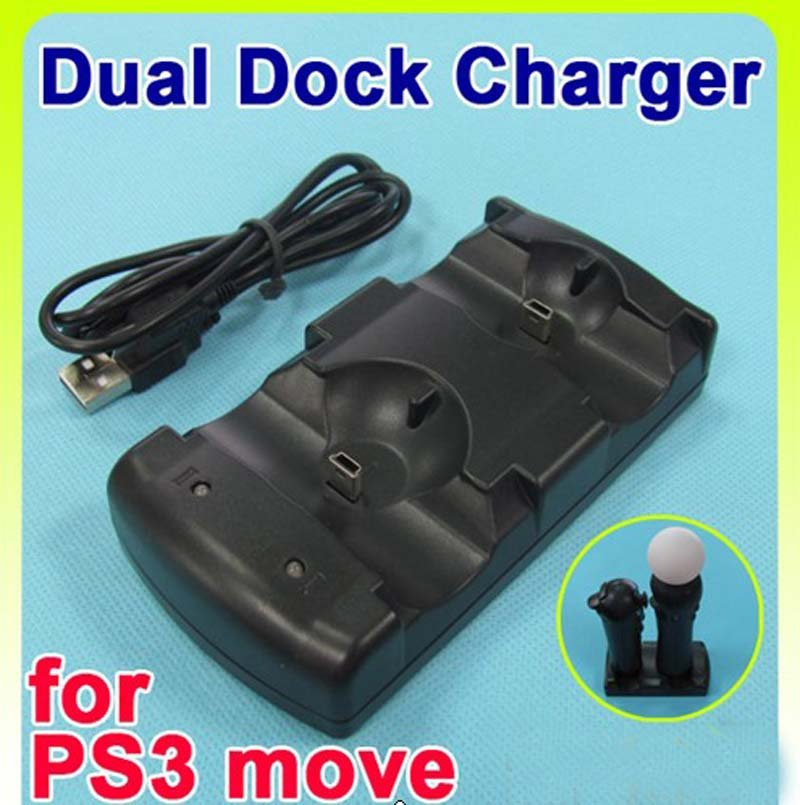 Free shipping USB Powered Dual Charging Dock Charger for PlayStation 3 PS3 Move Navigation and Controller, Black(China (Mainland))