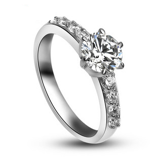 Imports drill the ultimate shine Ms. simulation diamond ring sterling silver diamond ring(China (Mainland))