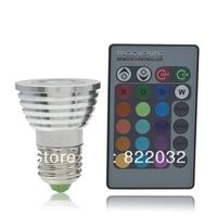 free shipping,16 Color Changing RGB 3W E27 LED Light Bulb Lamp 85-265V + IR Remote Control