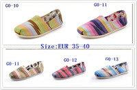 10piece 2013 new color bar women canvas shoes & men casual shoes couple pedal shoes free shipping
