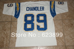 free shipping CHARGERS #89 CHANDLER THROWBACK FOOTBALL STITCHED JERSEYS SIZES 46 48 50 52 54 56 60(China (Mainland))